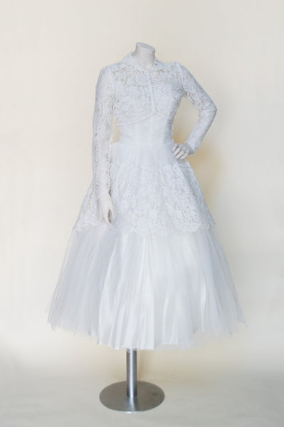 1950s tea length wedding dress from Dalena Vintage