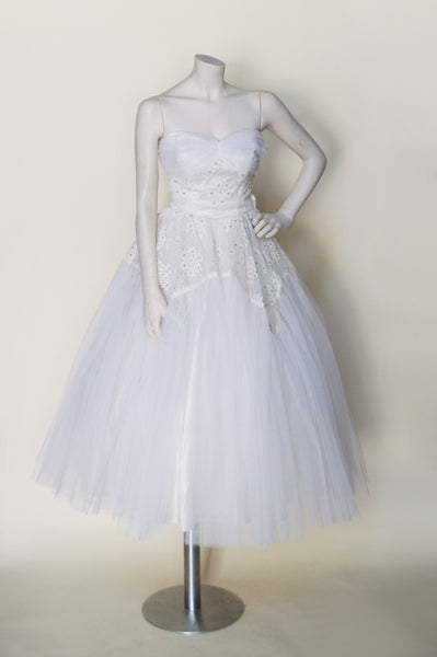 Vintage 1950s tea length wedding dress
