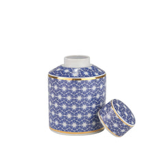 White & Blue Jar w/ Gold Edge