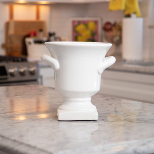White Ceramic Urn with Handles