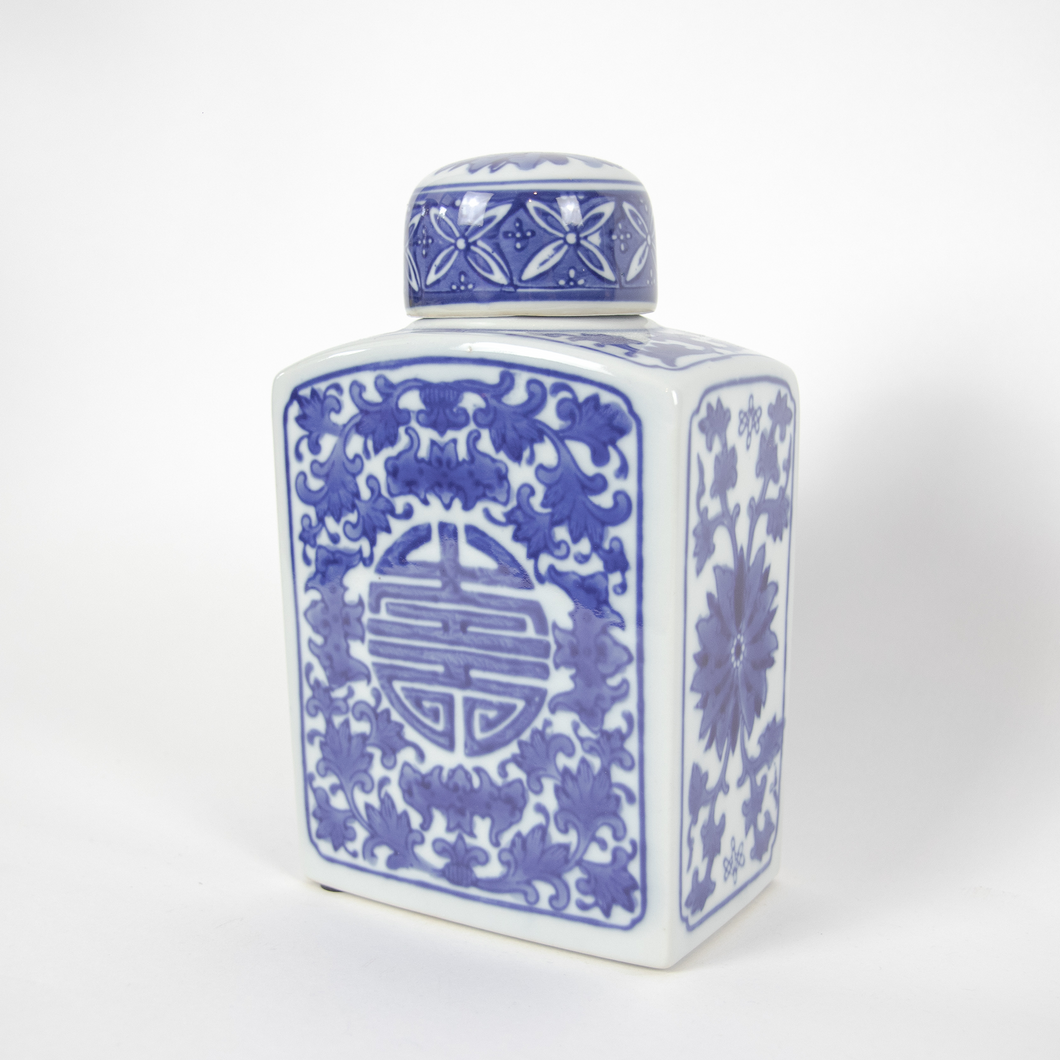 Blue and White Rectangle Jar w/ Lid