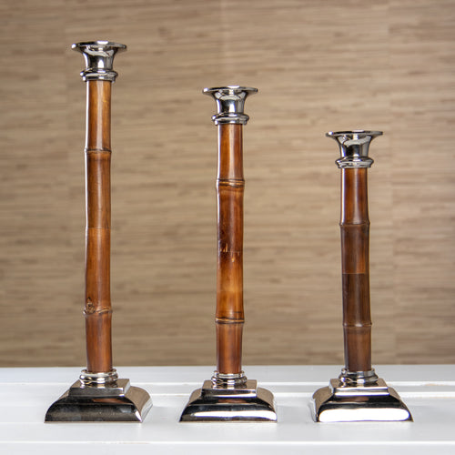 Bamboo and Nickel Candlesticks