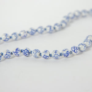 Porcelain Blue & White Beaded Necklace