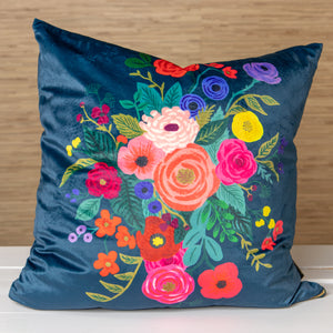 Flower Pillow - Navy Velvet
