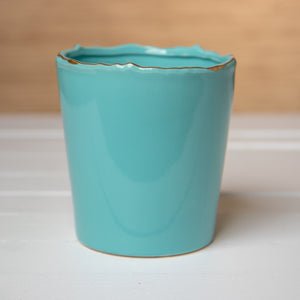Turquoise and Gold Planter