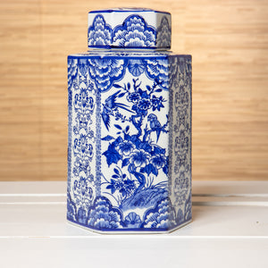 Hexagonal Blue and White Jar