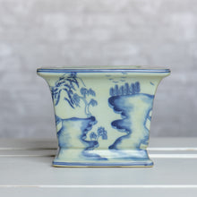Blue and White Large Square Planter