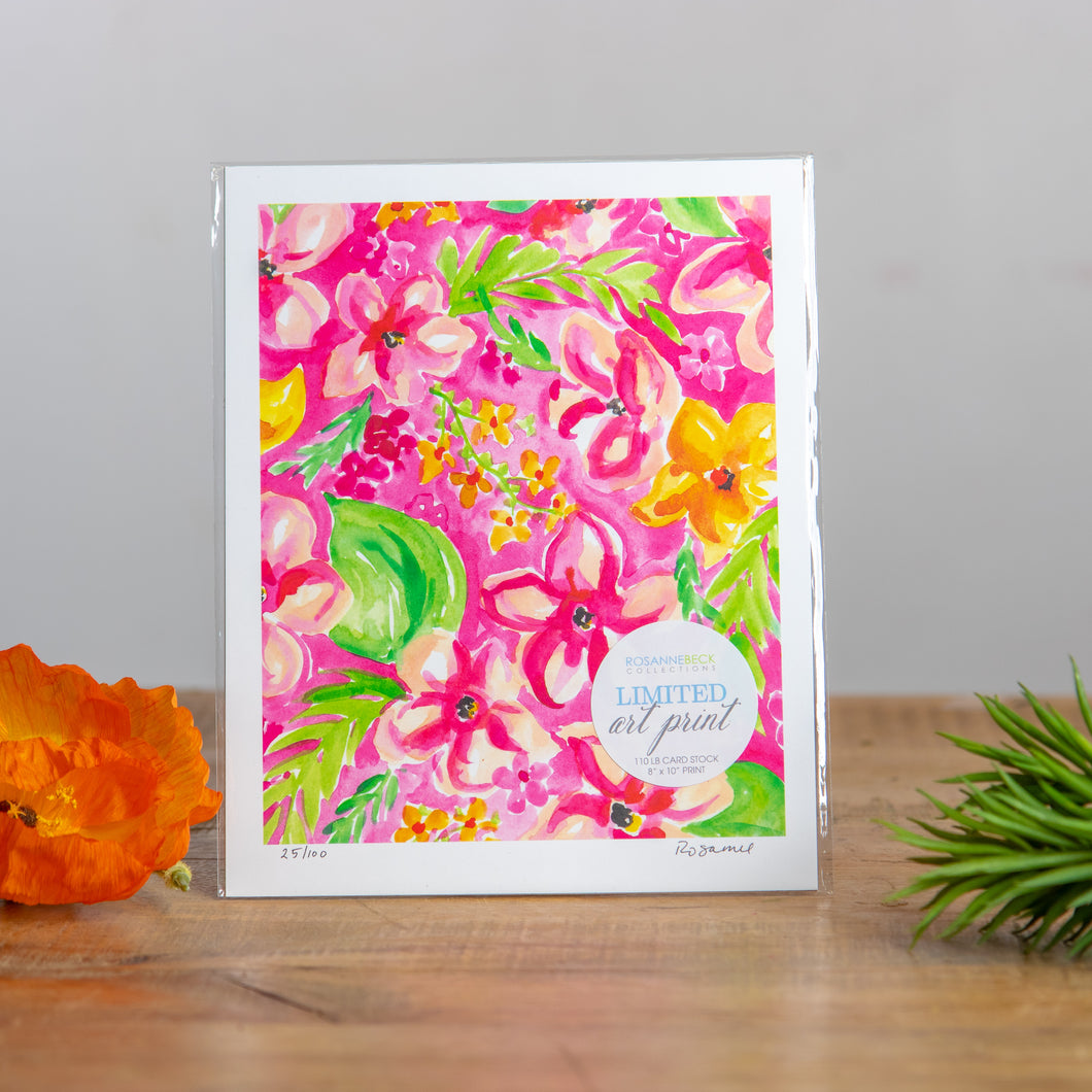 Art 8x10 Hand painted Floral Pink