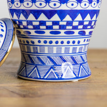 Blue & White Geometric Temple Jar