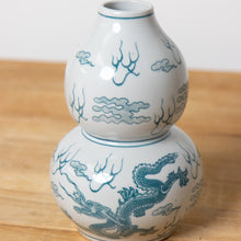 Teal and White Dragon Vase