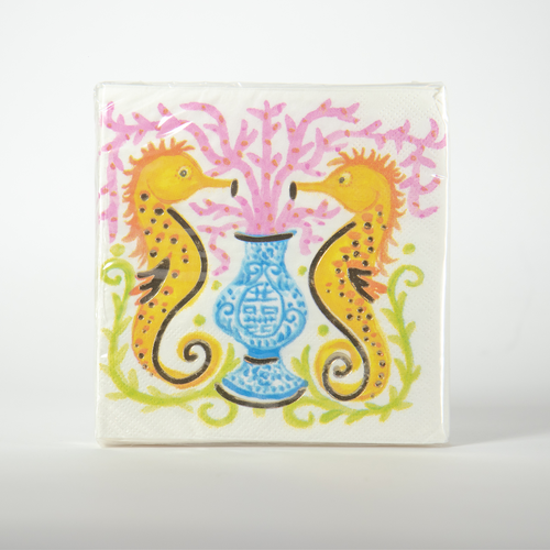 Seahorse Watercolor Cocktail Napkins