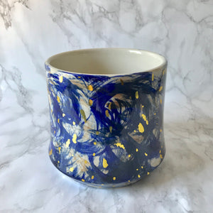 Cobalt Blue Planter with Gold Flecks