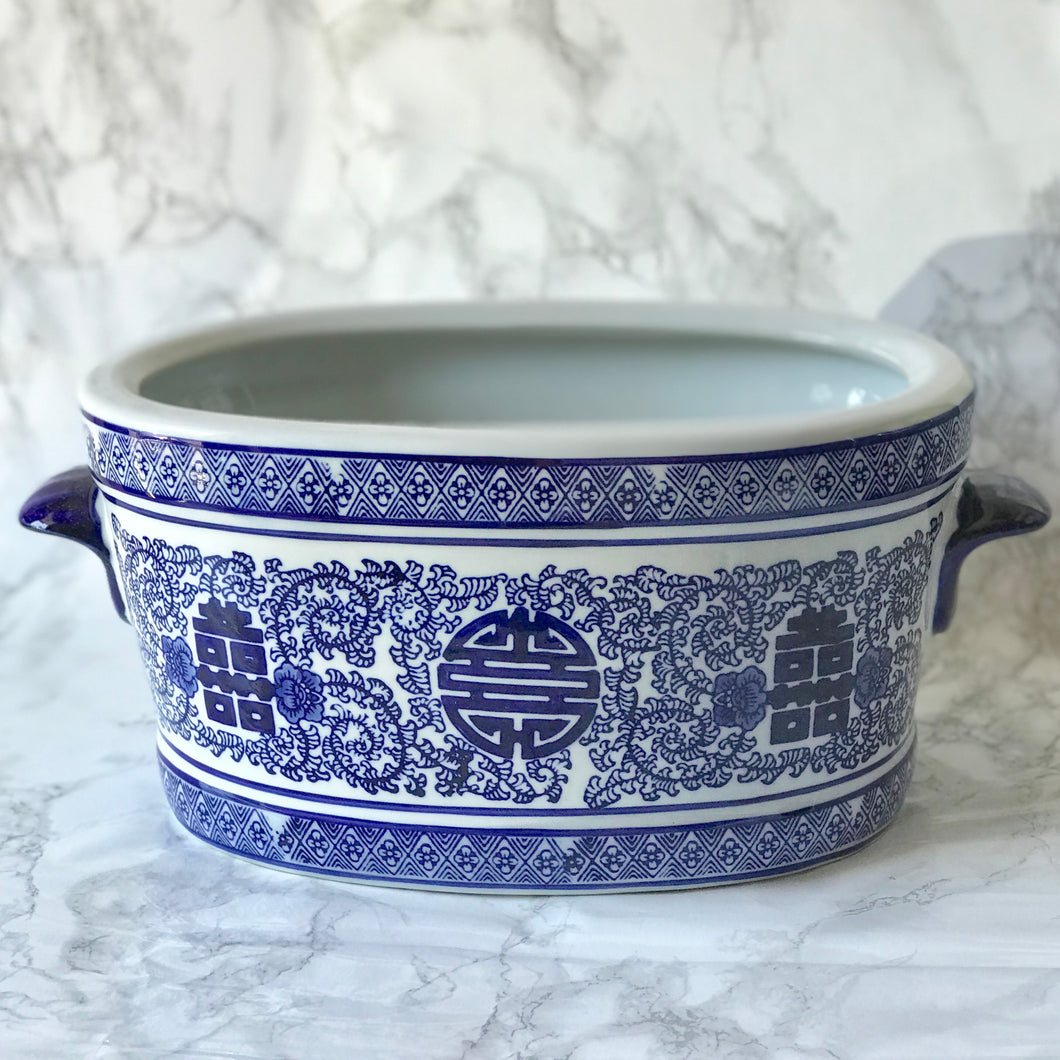 Blue & White Ceramic Oval Planter