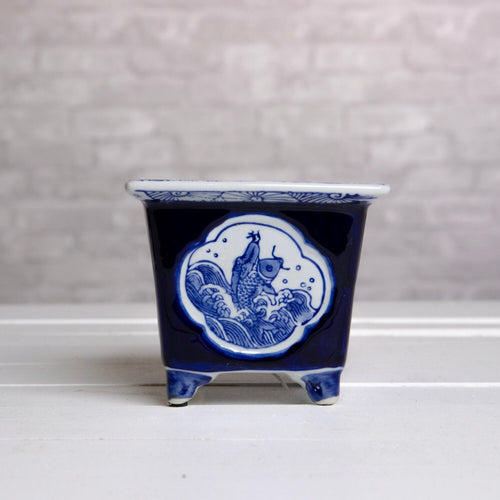 Blue and White Small Square Planter