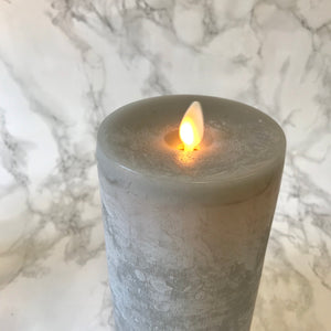 Moving Flame Grey Chalky Pillar Candle