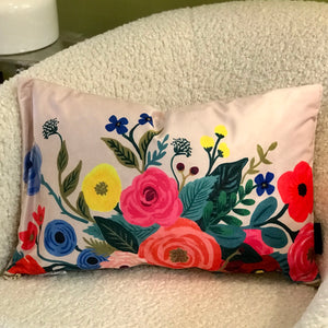Flower Pillow - Blush Velvet