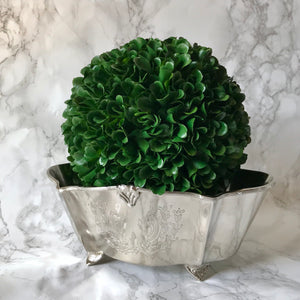 Silver Footed Planter - Embossed Florals