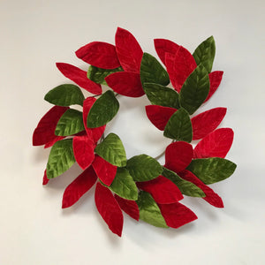 Velvet Red and Green Magnolia Leaf Wreath