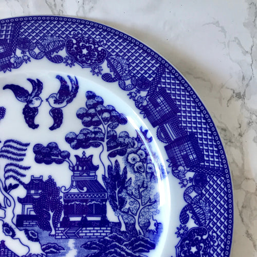 Blue and White Pagoda Plate