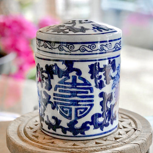 Blue and White Canister with Lid
