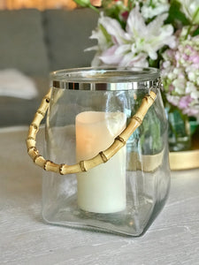 Glass Lantern with Bamboo Handle