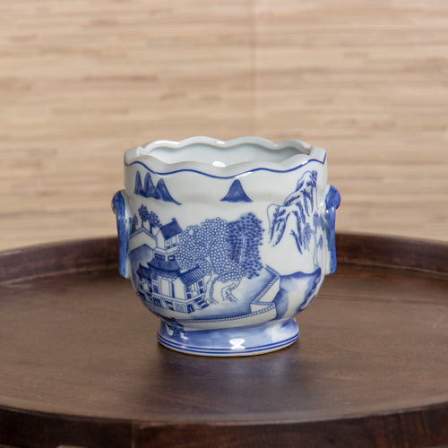 Blue and White Canton Cachepot