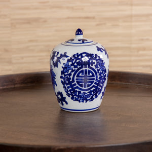 Blue and White Mini Pumpkin Jar