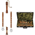 2785 - Moeck Rottenburgh Recorder, model 4599, Bass Set, with Interchangeable Sections, for playing in in -f- at a=442Hz and a=415Hz, Stained Maplewood, Double Holes, Four Keys