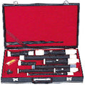 2351 - Aulos Hard Case with Instruments of:  Sopranino , Soprano, Alt and Tenor Recorders