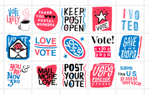 SAVE THE USPS poster stamps