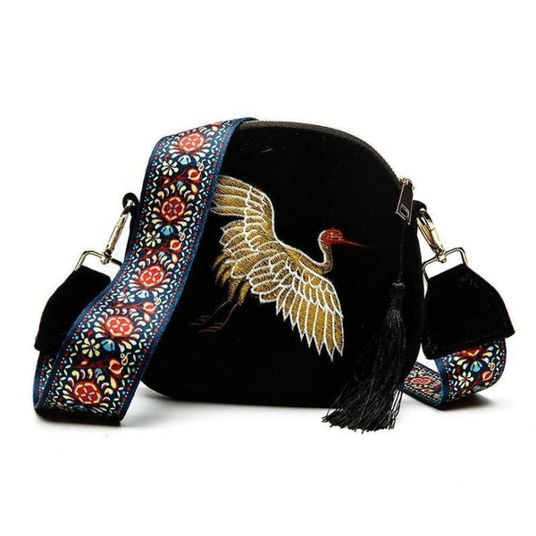 Womens Embroidered Bird Bag - Shoulder Bag