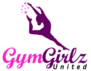 "Gymnast leaping above writing ""Gym Girlz United"""