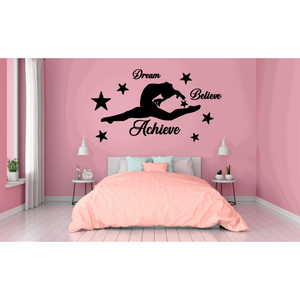 Gymnast Gymnastics Wall Sticker in Black reads Dream Believe Achieve with gymnast and stars