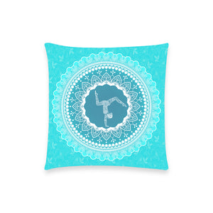 Aqua Mandala Pillow Case 18inch Custom  Pillow Case