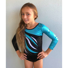 aqua blue and black long sleeved leotard with rhinestones