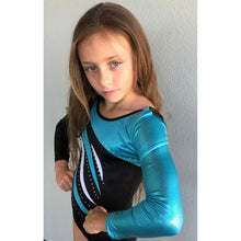 Aqua and black long sleeved gymnastics leotard with rhinestones - Gym Girlz United