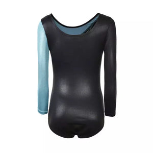 aqua black long sleeved leotard