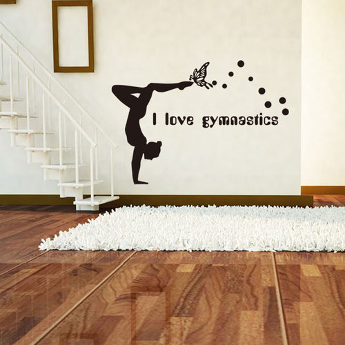 I Love Gymnastics Wall Sticker with Butterfly