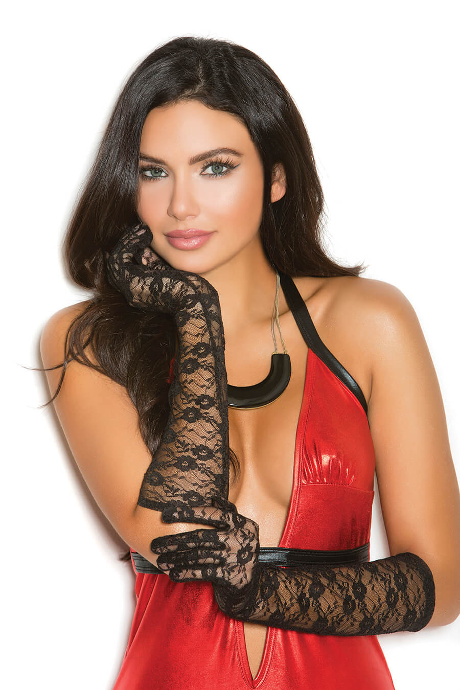 Elbow Length Lace Gloves - Twilight Silk