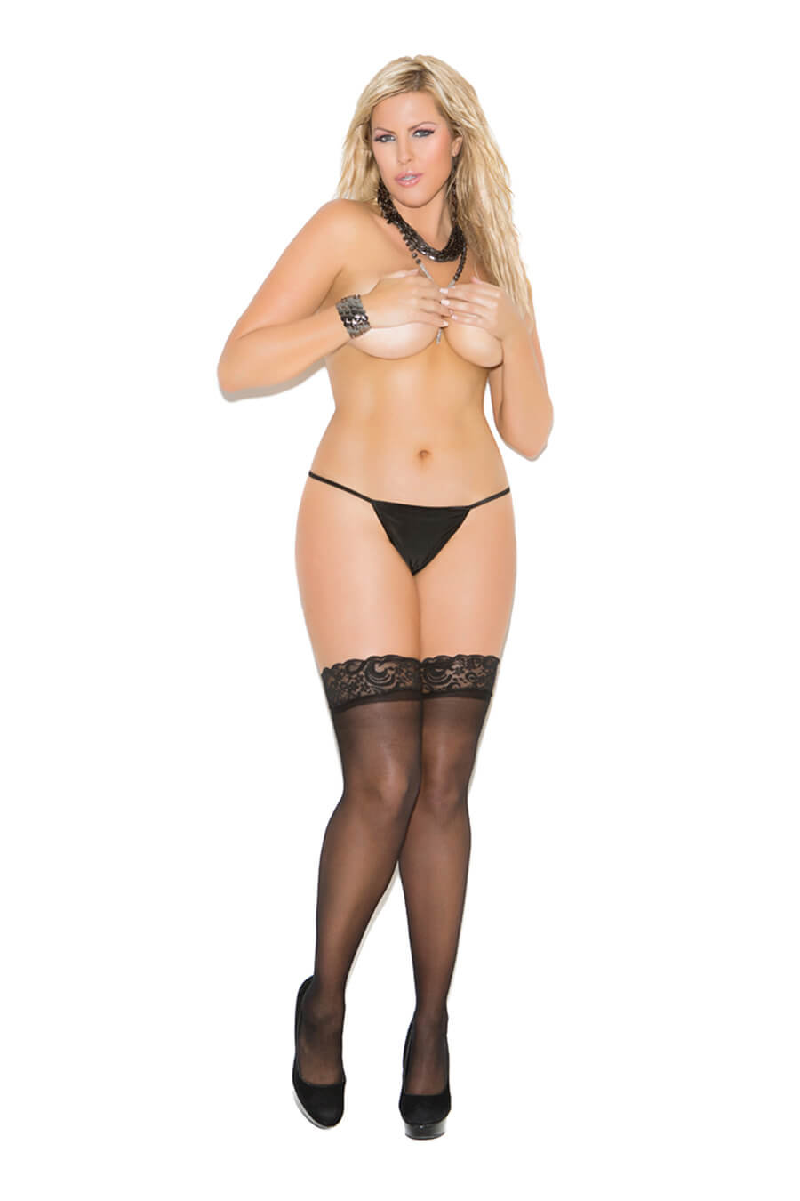 Sheer Thigh Highs with Back Seam - Twilight Silk