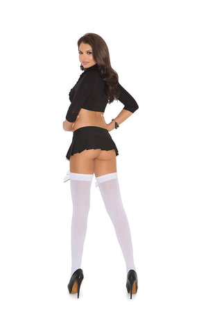 Opaque Thigh Highs With Satin Bows - Twilight Silk