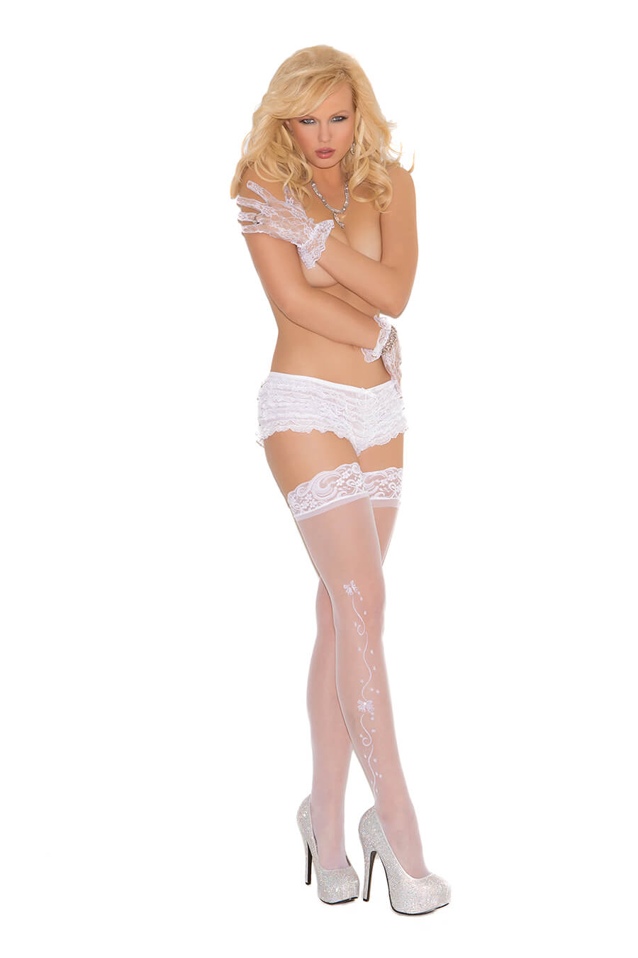 Wedding Bells Sheer Thigh Highs - Twilight Silk