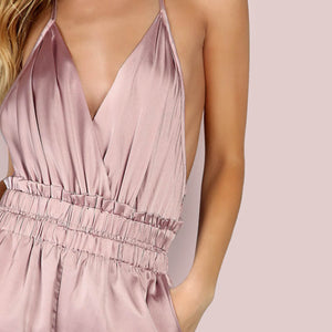 Dusty Pink Satin Jumpsuit - Twilight Silk