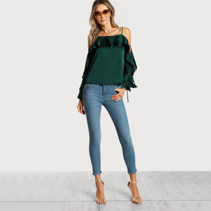 Autumn Green Lace Up Silk Satin Long Sleeve Blouse - Twilight Silk