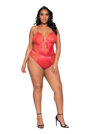 Satin Lace Up Teddy (Plus Size Available!) - Twilight Silk