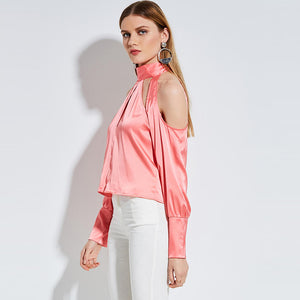 Pink Satin Cold Shoulder Top - Twilight Silk