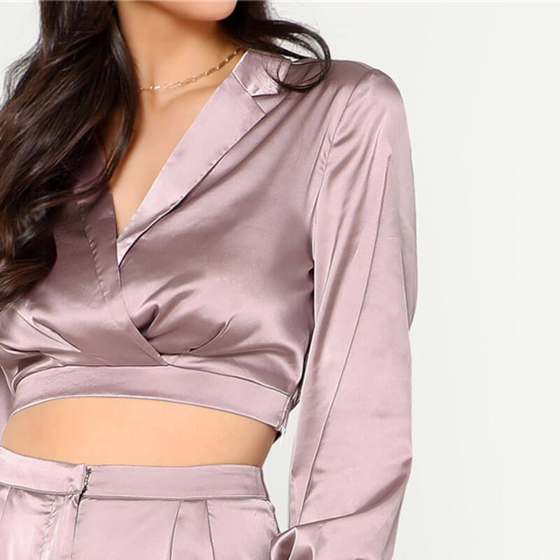 Purple Satin Long Sleeve Deep V Neck Crop Top & Pants Set - Twilight Silk