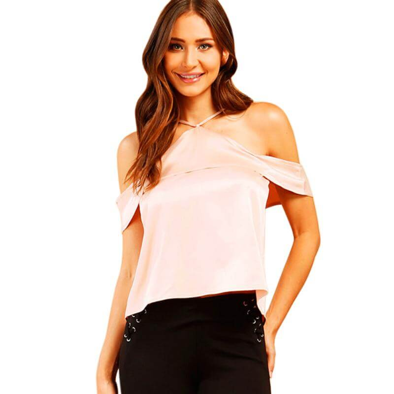 Pink Satin Backless Cold Shoulder Top - Twilight Silk