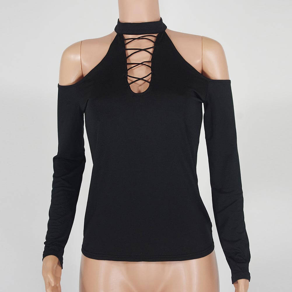 Hollow Out Cold Shoulder Top - Twilight Silk