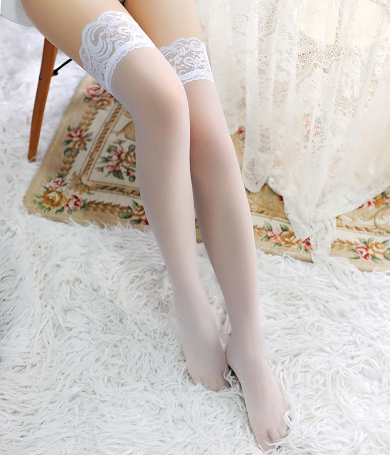 Lace Nylon Thigh High Stockings - Twilight Silk